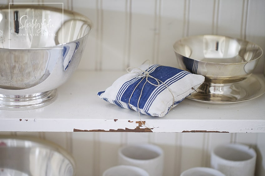 Decorating with toile - blue and silver accents complement the toile design
