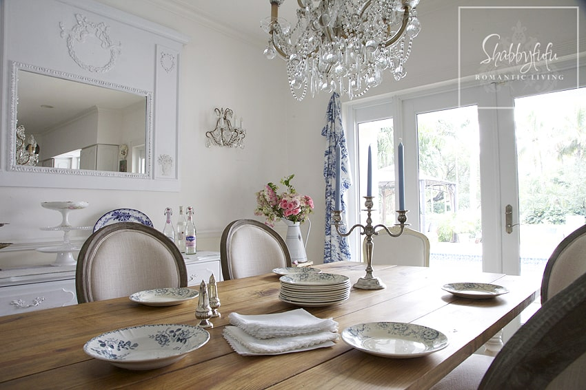 Decorating with toile - a neutral dining room with touches of toile accents