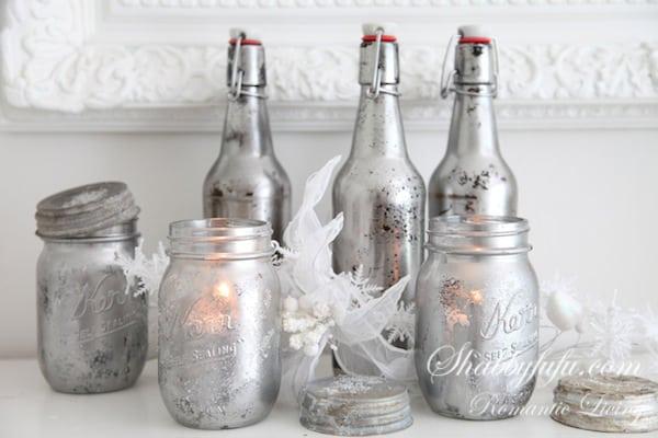silver mason jars