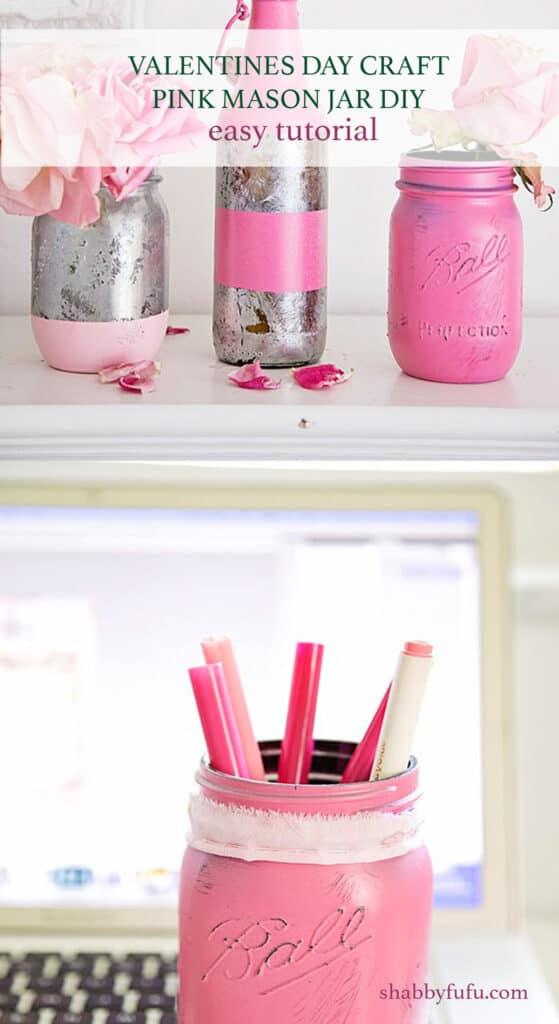 valentine craft pink mason jar diy