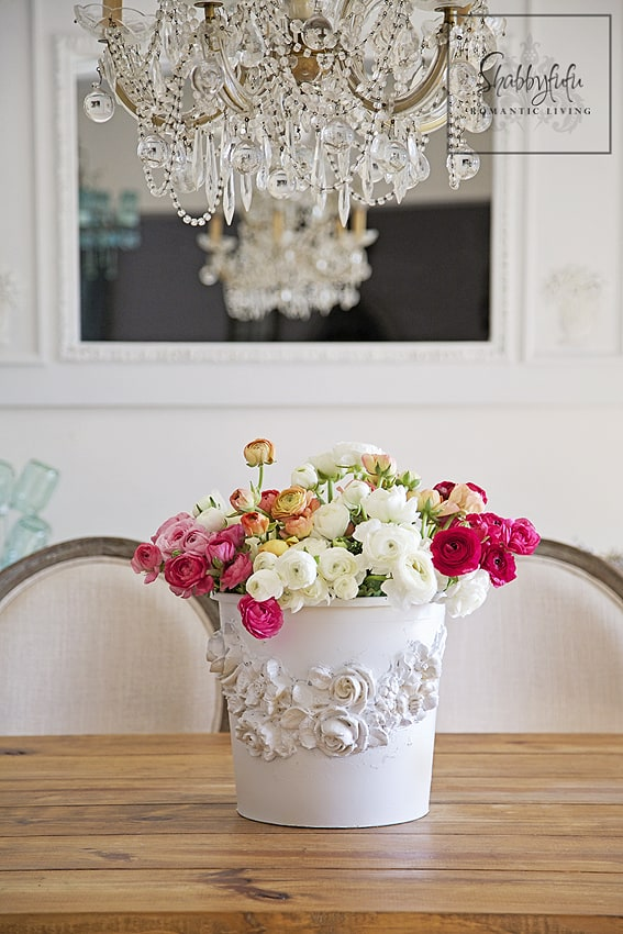 flower bucket with appliques diy Creative DIY Flower Pot Idea