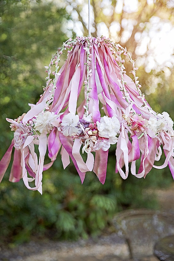 chandelier made with ribbons
