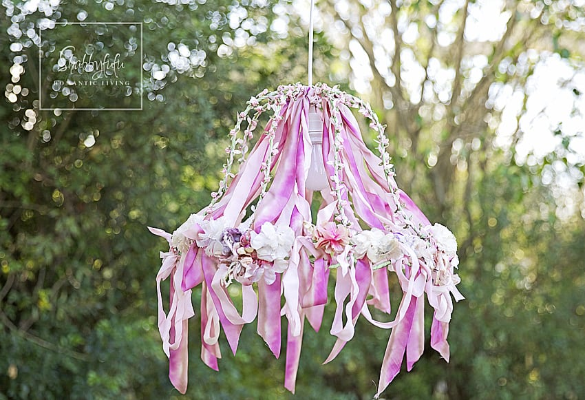 outdoor chandelier with ribbon