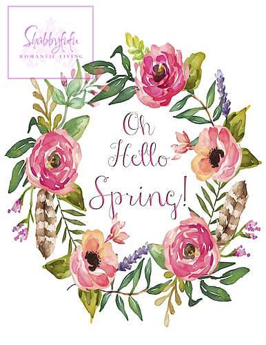 spring wreath printable shabbyfufu