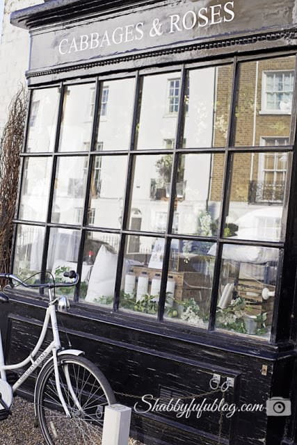 The storefront of Cabbages & Roses, a beautiful shabby chic style boutique in Chelsea!