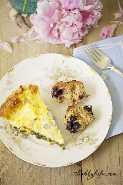 Delicious Fluffy Spinach Quiche and Healthy Blueberry Muffins