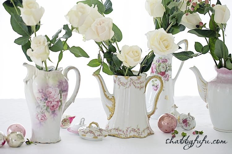 flowers in chocolate pots