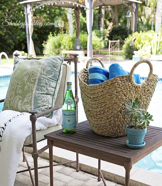 This wicker basket is the perfect pool-side partner for hot summer days. It carries everything! Available from Home Goods.