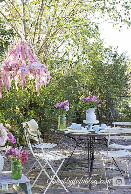 garden party outdoors ribbon chandelier