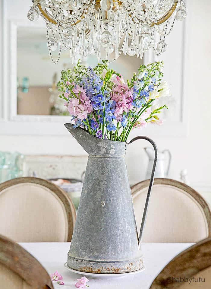 french zinc body pitcher flowers
