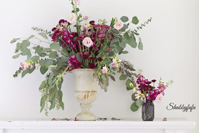 fall flowers in an urn