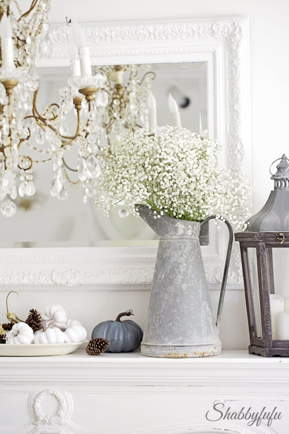 french fall decorating mantel