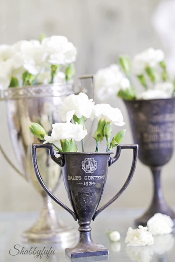 vintage trophy cups fall decor
