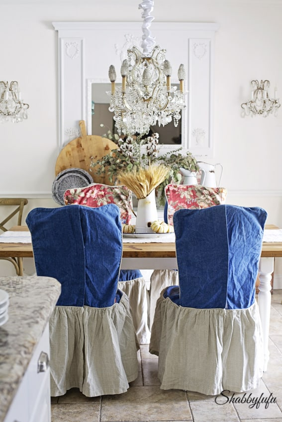 They Are Wearing Some Custom Made Slipcovers That I Designed And Had A Seamstress Make For Former Set Of Dining Room Chairs We Have Since Replaced
