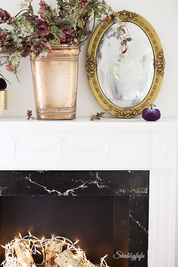 faux fireplace fall copper and gold