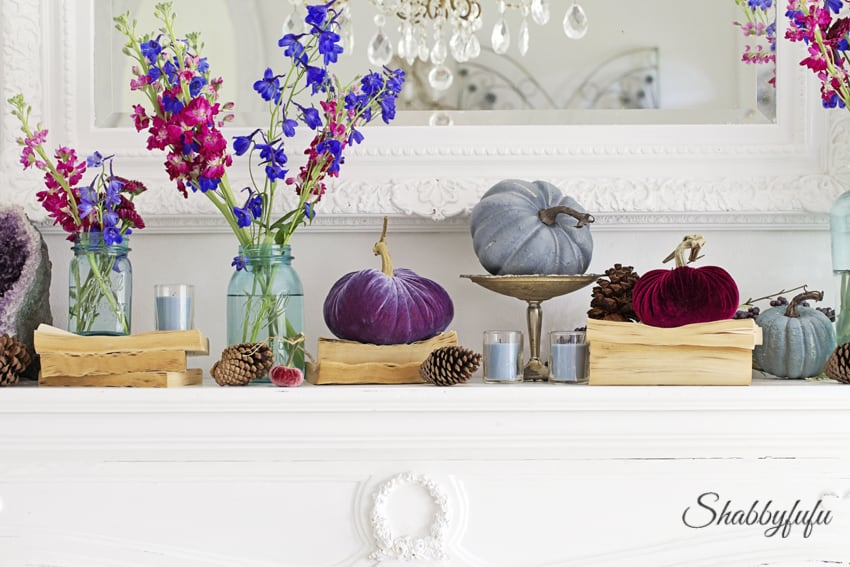 fall mantel decorating with velvet pumpkins