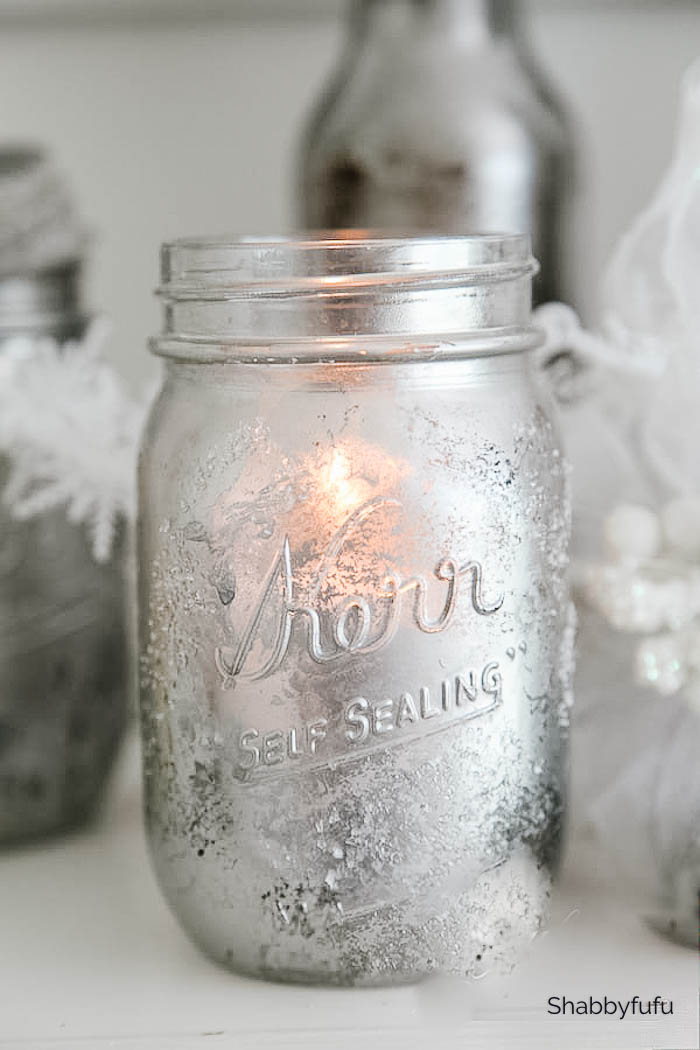 mercury glass mason jar tutorial Christmas candles
