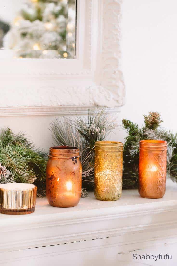 copper and gold mason jars