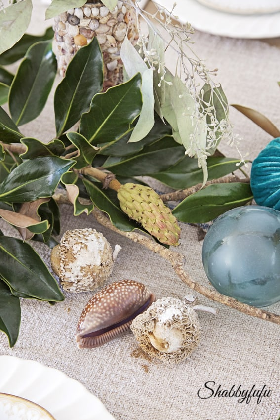 fall decorating beach coastal table