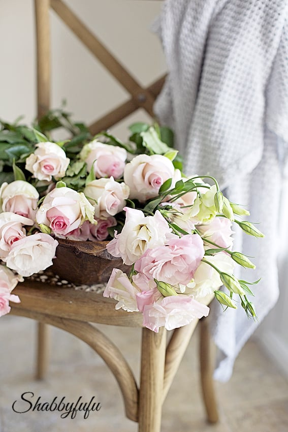 pink roses and lisianthus autumn