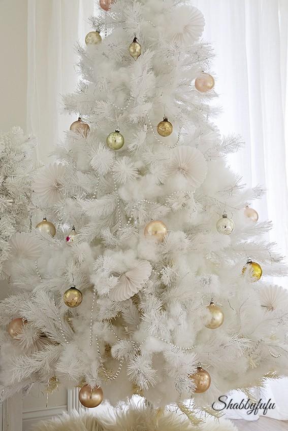 white shabby chic christmas tree