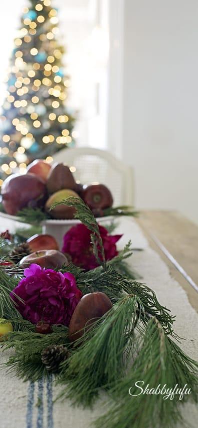 natural christmas garland/shabbyfufublog.com