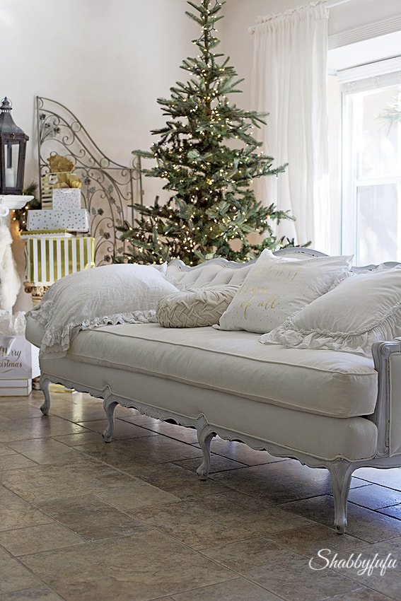 vintage french tufted sofa in a christmas decorshabbyfufublogcom