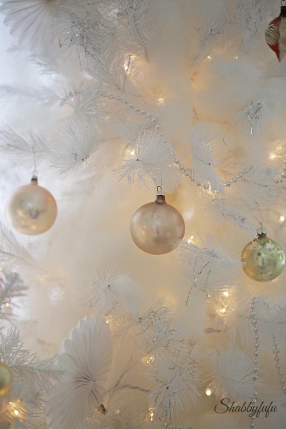 white christmas tree pastel ornaments