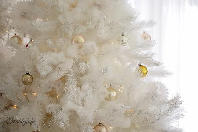 white christmas tree shabby chic ornaments