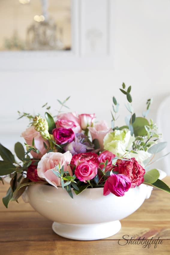 floral arranging diy in a soup tureen