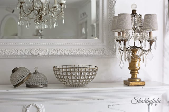 antique French lighting used on a mantel