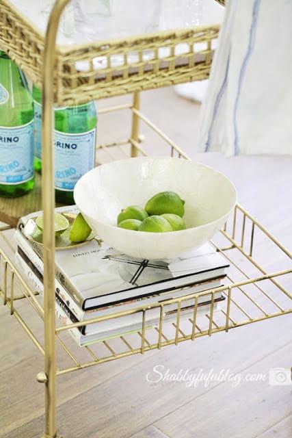 bar cart makeover in gold