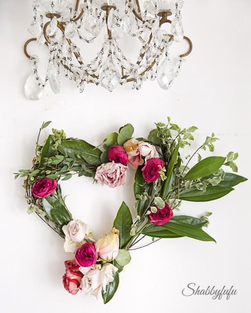 fresh flowers in a wreath