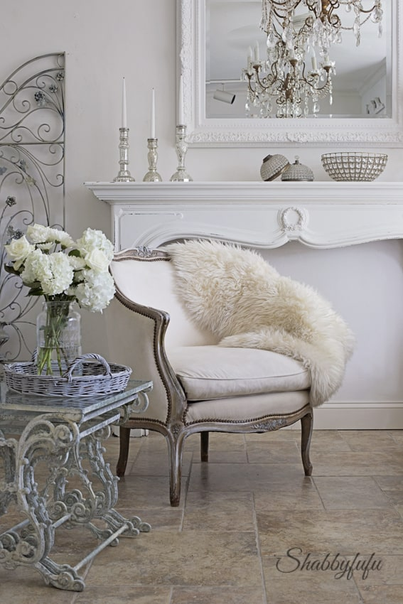 simple French country living room styled for winter