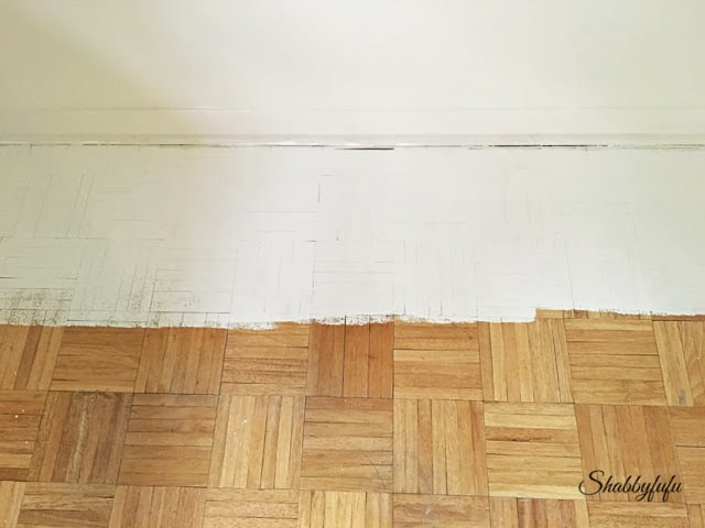 Parquet Floor Painted White