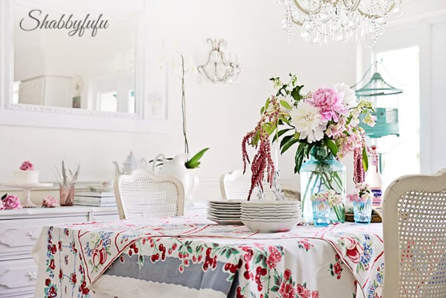 vintage printed tablecloths in layers