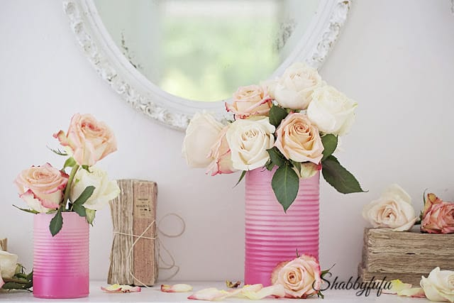light pink roses in hombre tin paint cans - floral styling ideas