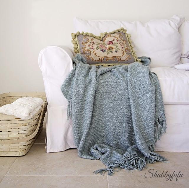 white slipcovered sofa from Pottery Barn