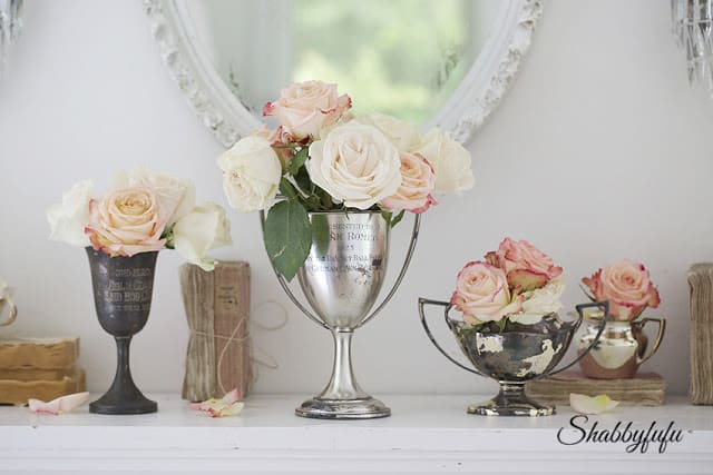 mantel with silver and roses