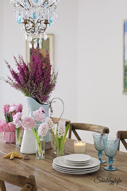 pink peonies aqua chandelier