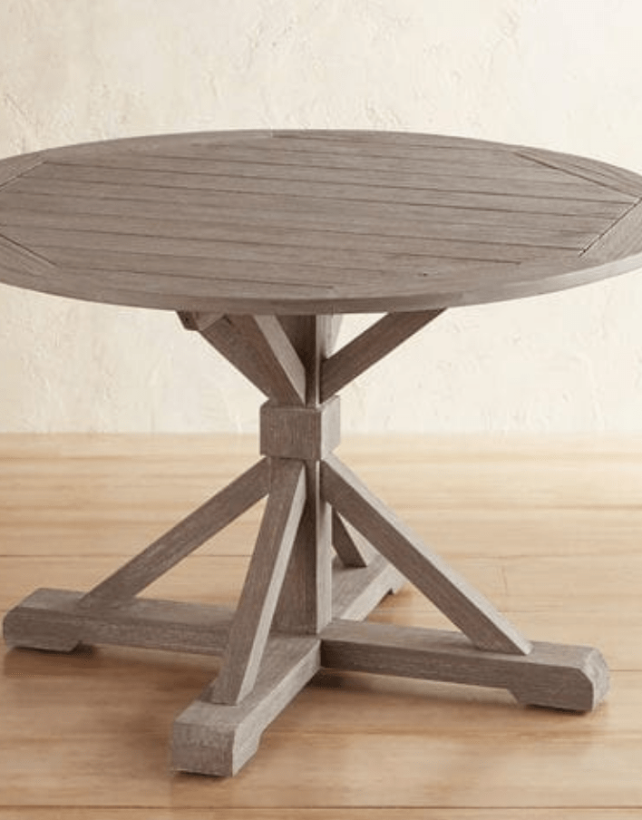 weathered round trestle table french country