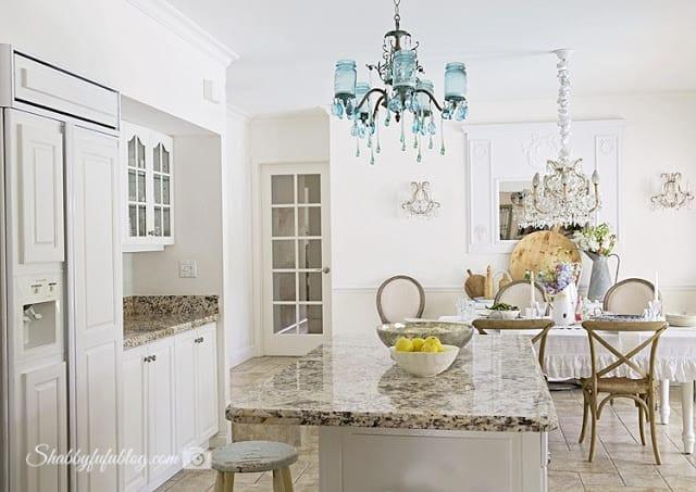kitchen with mason jar chandelier