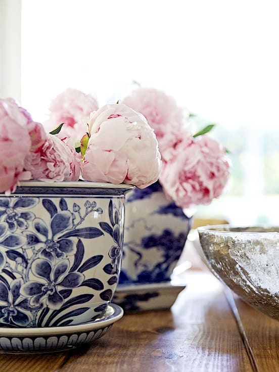chinoiserie pots with peonies