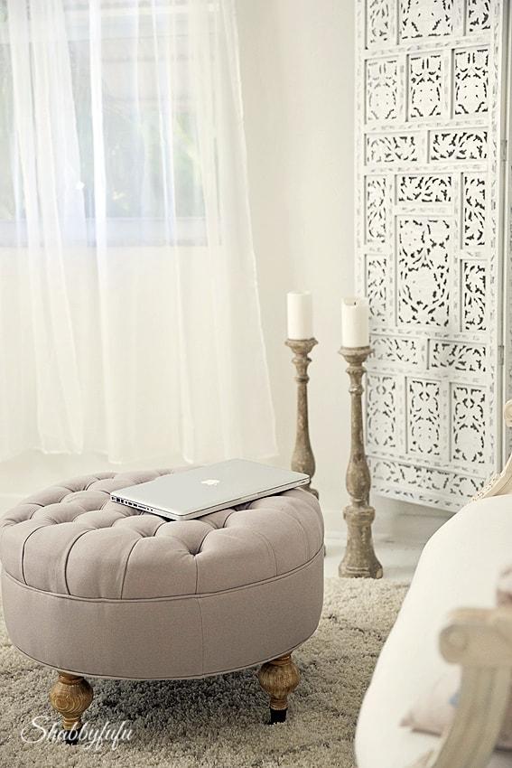 white boho office design