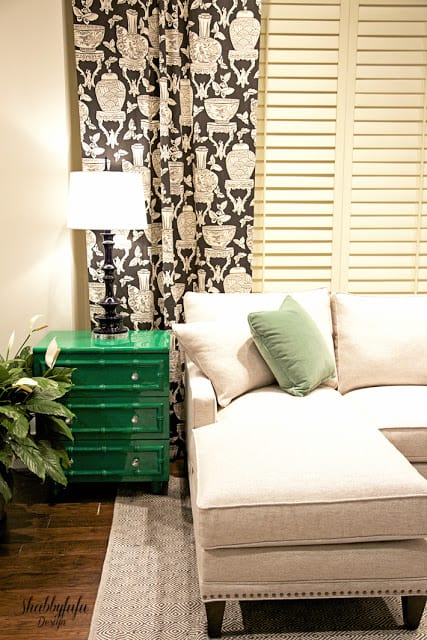 green lacquered cabinet