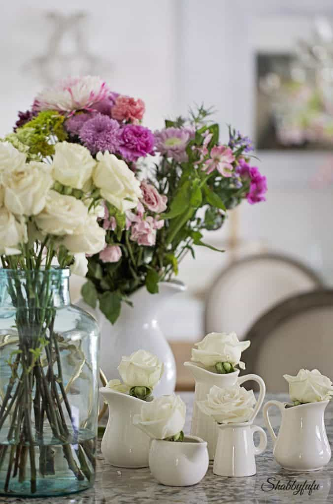 floral display with creamware