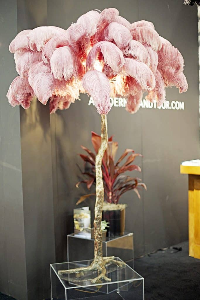 pink ostrich feather lamp