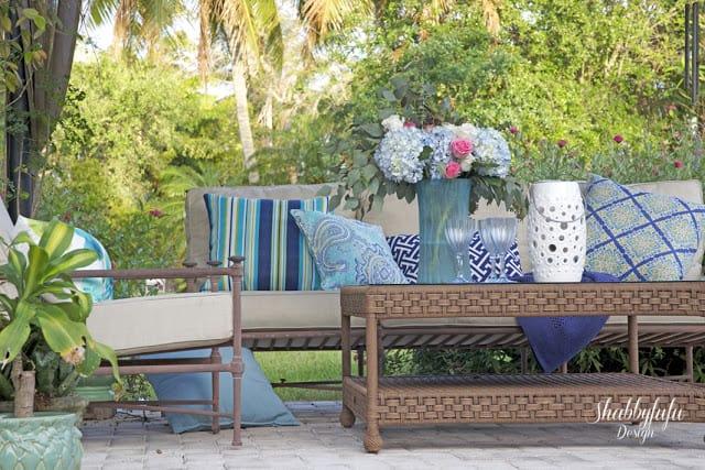spring house patio blue pillows