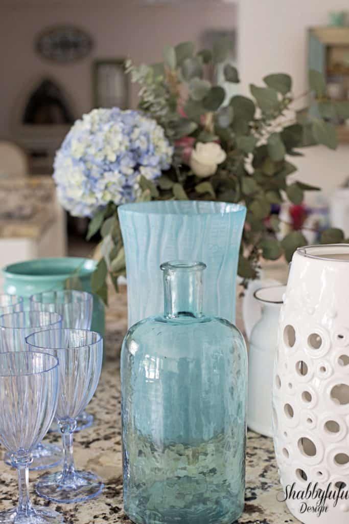 blue and aqua tabletop