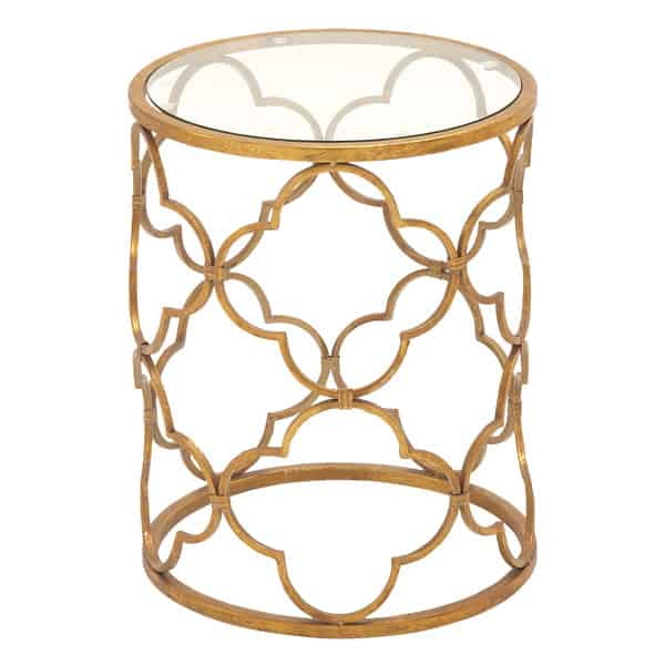 gold quatrefoil table